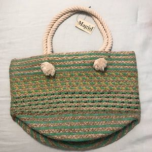 Magid Rope Handle Striped Woven Bag